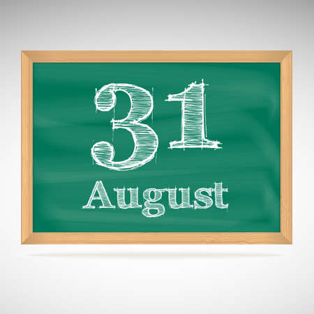 31: August 31, day calendar, school board, date, schedule Illustration
