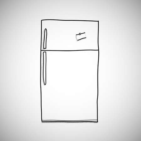 skecth: hand drawn refrigerator  vector cartoon, illustration isolated on white background. hand drawn, skecth style.