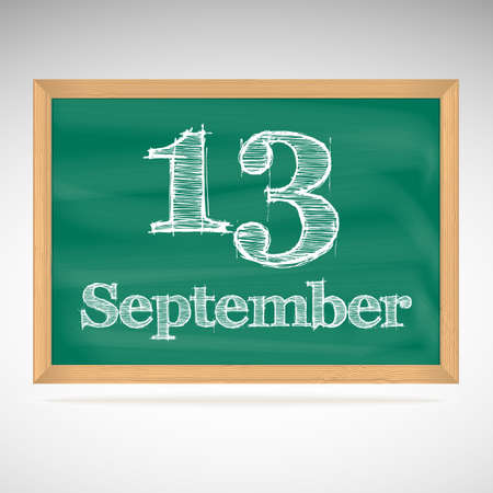 September 12, inscription in chalk on a blackboard, day calendar, school board, date Vector