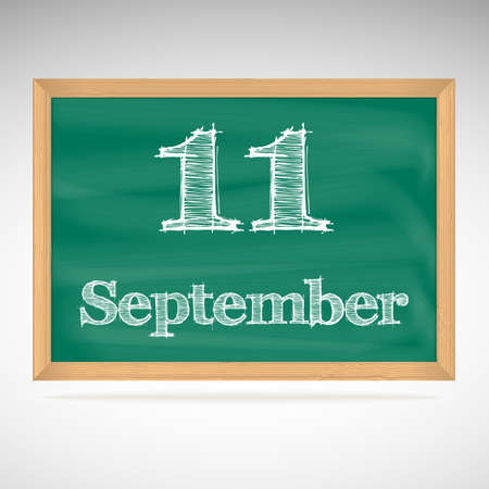 September 11, inscription in chalk on a blackboard, day calendar, school board, date Vector