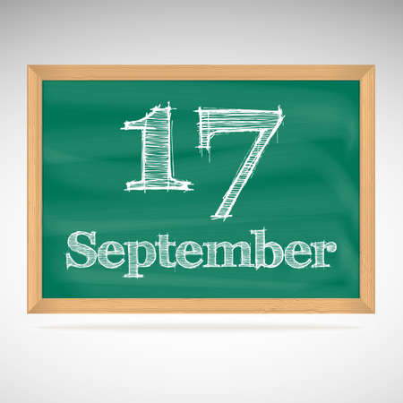 September 17, day calendar, school board, date, schedule Vector