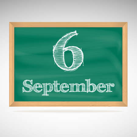 September 6, day calendar, school board, date, schedule Vector