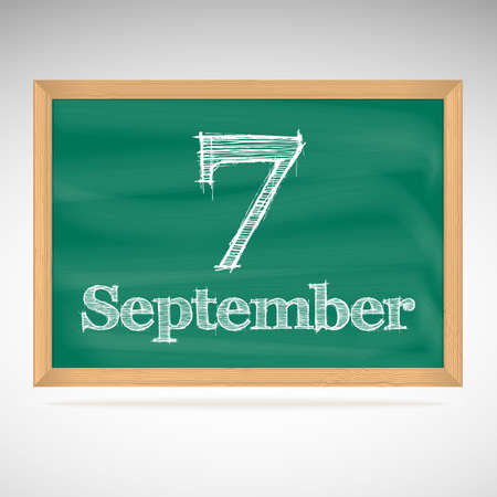 September 7, inscription in chalk on a blackboard, day calendar, school board, date Vector