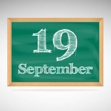 September 19, day calendar, school board, date, schedule Vector