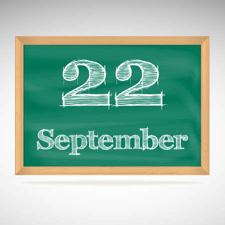 September 22, day calendar, school board, date, schedule Vector