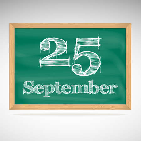 September 25, day calendar, school board, date, schedule Vector