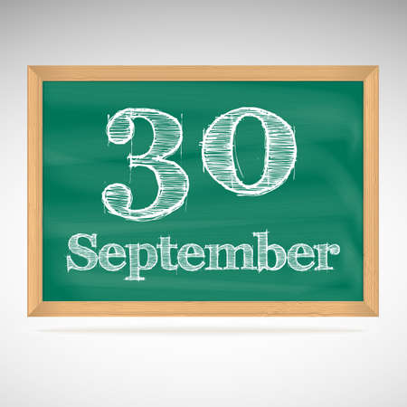 September 30, day calendar, school board, date, schedule Vector