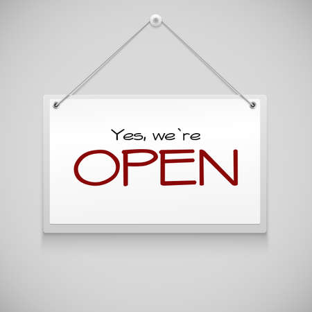 Open sign board hanging on the white wall. Vector illustration Çizim