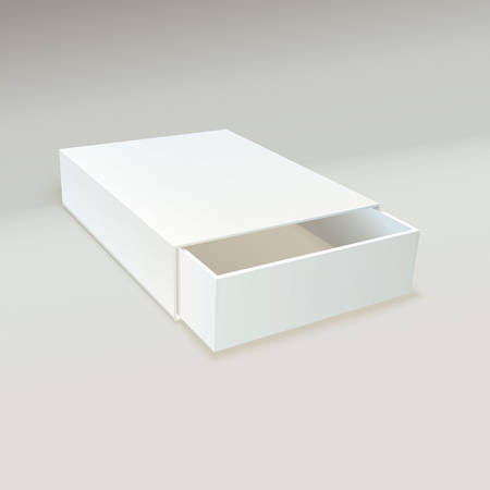 Empty, open a box of matches. Realistic vector illustration. Package Cardboard Sliding Box. For small items, matches, and other things.