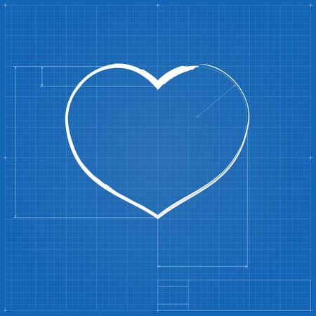 Heart symbol like blueprint drawing stylized drafting of gift heart symbol like blueprint drawing stylized drafting of gift sign on blueprint paper vector malvernweather Choice Image