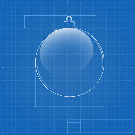 Christmas ball symbol like blueprint drawing. Vector image for new year's day and christmas, Stock Vector - 24506844