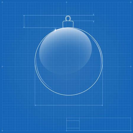 Christmas ball symbol like blueprint drawing. Vector image for new year's day and christmas, Stock Vector - 24506844