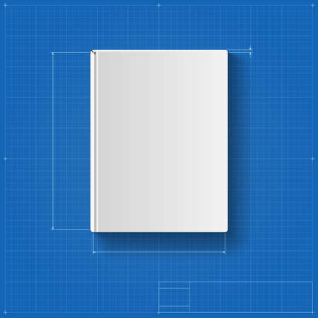 The book, drawing with dimensions, book cover. Vector illustration for your design, packaging, congratulation, packaging.
