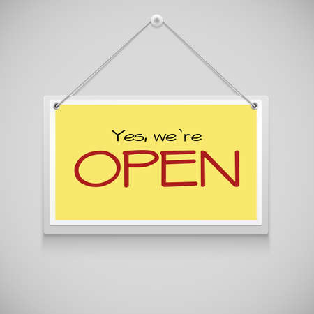 doorhandle: Open sign board hanging on the yellow illustration