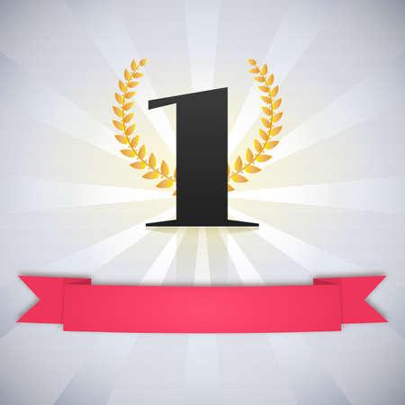 Number one, scarlet ribbon, laurel wreath and rays, winner no.1 label Ilustração