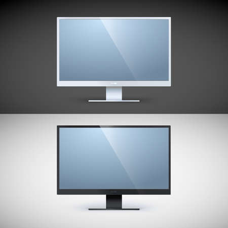 displays: Vector computer displays on black and white backgrounds