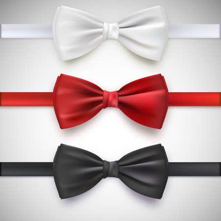lazo negro: Realista pajarita blanca, negro y rojo, ilustraci�n vectorial, aislado en el fondo blanco