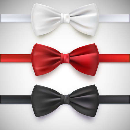 white cloth: Realistic white, black and red bow tie, vector illustration, isolated on white background