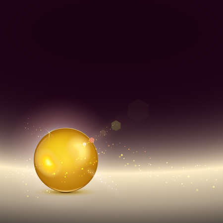 Golden shiny glow sphere. Vector background,contains light effects.
