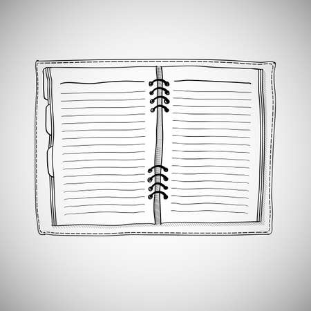 Sketch of notebook. Vector illustration with hand drawn notepad with page Vector