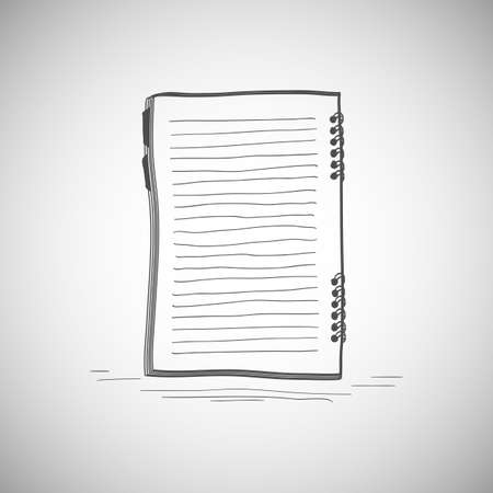 Sketch of notebook. Vector illustration with hand drawn notepad with page