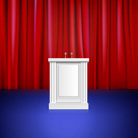 hustings: Scene with red curtain, tribune. Place for performances Illustration