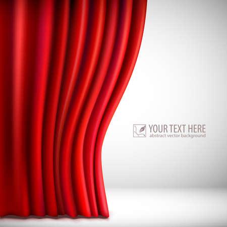 Achtergrond met rood fluwelen gordijn. Vector illustratie.