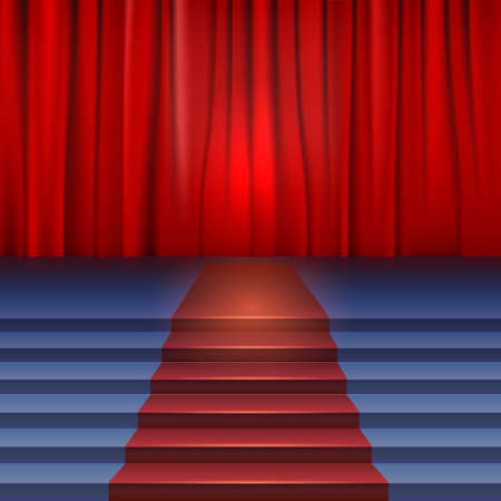 Theater stage with red curtain and carpet. Stairs covered red carpet Stock Vector - 25311837
