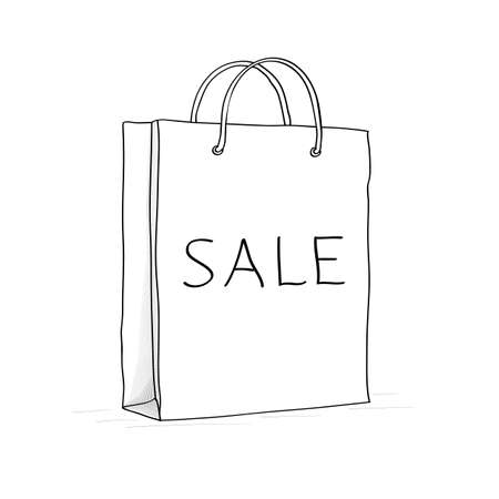 Sale bag, icon. Sketch vector illustration in doodle style Vector