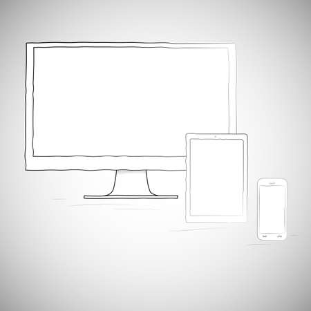 electronic organiser: Laptop, mobile phone and tablet, electronic devices. Sketch vector illustration in doodle style