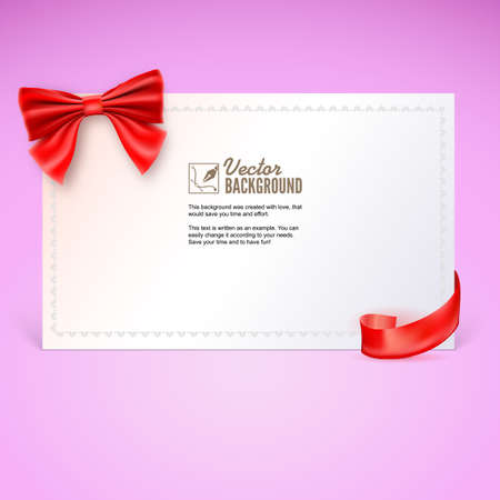 elebration: Nice gift card with red ribbon and bow. Vector illustration