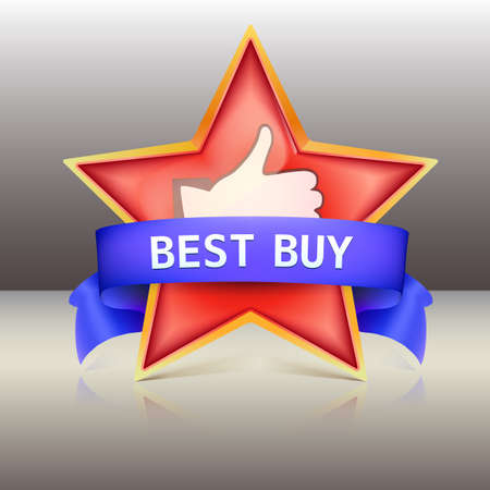Best buy label with red star and ribbons, vector illustration Vector