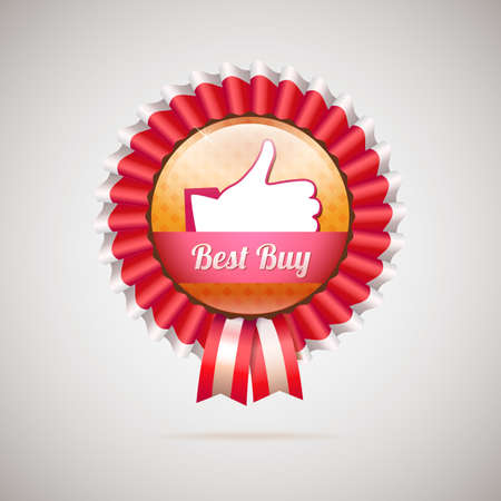 Best buy label with ribbons, vector illustration Vector