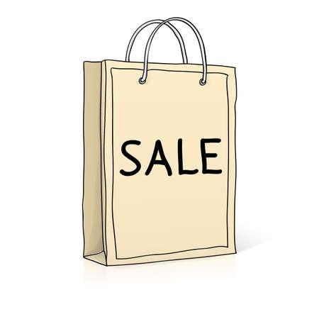 Shopping bag. Sketch vector illustration in doodle style