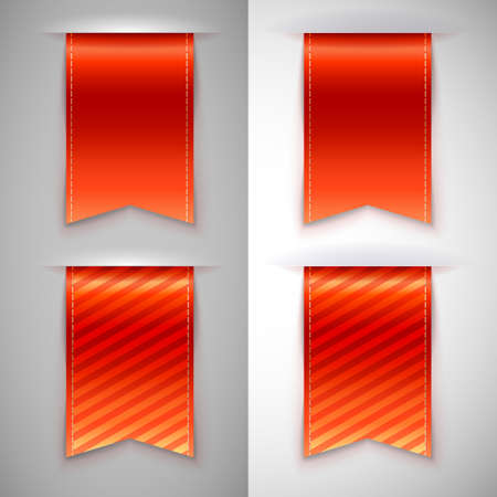 Red ribbon bookmark for books. Set of vector icons on a contrasting background Vector