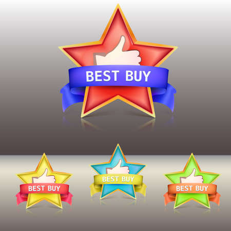 Best buy label with stars and ribbons, vector illustration Illustration