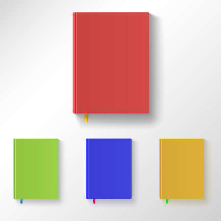 color registration: Book with color covers and bookmarks, variants of color registration