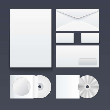 staple: Corporate identity templates — blank, business cards, disk, pen, envelop. Isolated with soft shadows