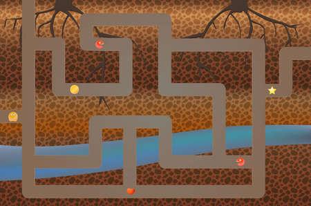 arcade games: 8-bit video game location, arcade games, star, coin. The game location of underground. Illustration