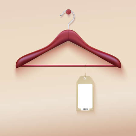 Clothes hanger with tag isolated on cream . Vector illustration. Realistic