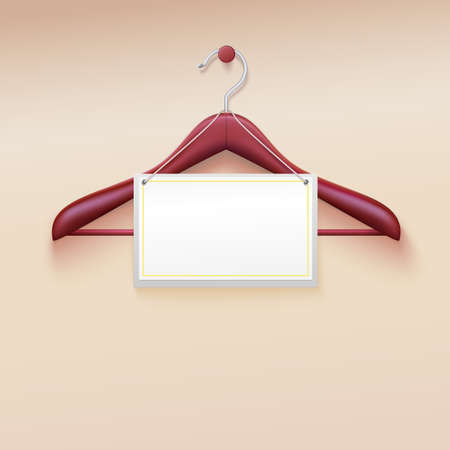 gifttag: Clothes hanger with tag isolated on cream . Vector illustration. Realistic