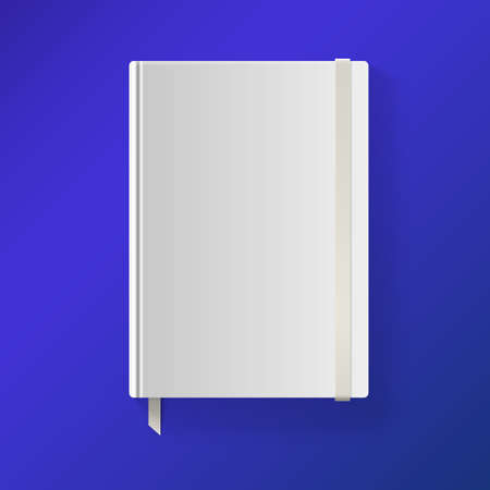 Copybook with elastic band and bookmark. Blank sketch book. Vector illustration.