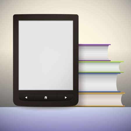 digitized: Lector de libros electr�nicos con una pila de libros. Usted puede a�adir su propio texto o imagen. Vectores