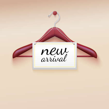 Clothes hanger with new arrival tag Vectores