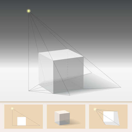 constructing: The principle of constructing the shadow. Geometric construction, teaching illustration Illustration