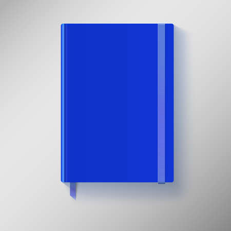 Blue copybook with elastic band and bookmark. Vector illustration.