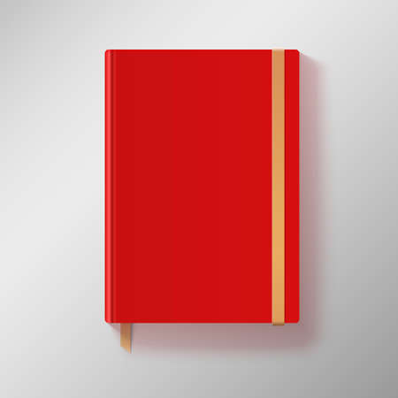 workbook: Red copybook with elastic band and gold bookmark. Vector illustration.