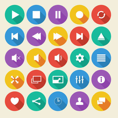 quieter: Media player flat vector icons with long shadow. Illustration