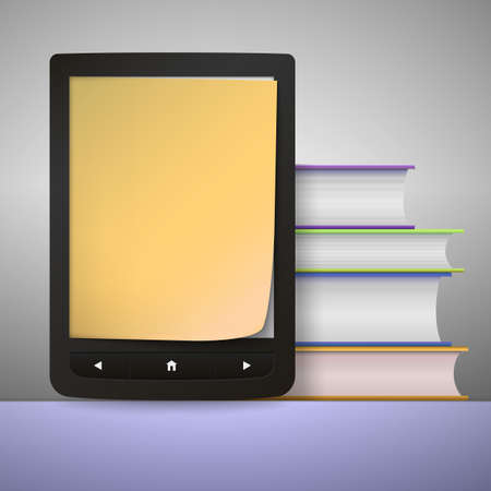 electronic book: Stack of colorful books with electronic book reader.