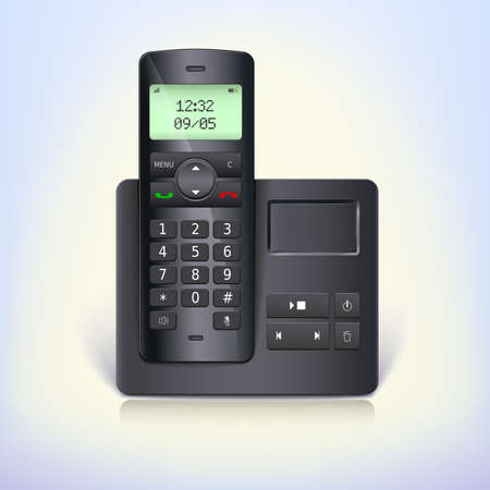 answering phone: Wireless telephone phone with answering machine and base on a white background. Black radio-telephone.